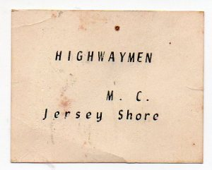 original Highwaymen business card.